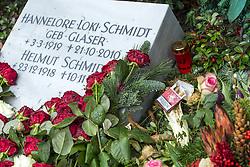 """THEMENBILD - Helmut Heinrich Waldemar Schmidt war ein deutscher Politiker der SPD. Von 1974 bis 1982 war er als Regierungschef einer sozialliberalen Koalition der fünfte Bundeskanzler der Bundesrepublik Deutschland, Hannelore """"Loki"""" Schmidt, geborene Glaser war eine deutsche Pädagogin und die Ehefrau von Helmut Schmidt, die sich durch ihre Leidenschaft für Biologie und Natur auch als Botanikerin, Natur- und Pflanzenschützerin betätigte. Hier im Bild Grabstein von Hannelore """"Loki"""" Schmidt und Helmut Schmidt, neben dem Grabstein wurde eine offene Zigarettenpackung mit einer Zigarette abgelegt, Grabstaette Helmut Schmidt. Aufgenommen am 26. Dezember 2015 in Hamburg. // Helmut Heinrich Waldemar Schmidt was a German politician of the SPD. From 1974 to 1982 he served as head of government of a social-liberal coalition, the fifth Chancellor of the Federal Republic of Germany, Hannelore """"Loki"""" Schmidt, nee Glaser was a German teacher and the wife of Helmut Schmidt, who, through their passion for biology and natural as a botanist natural and Pflanzenschützerin operated. in this picture grave stone of Hannelore """"Loki"""" Schmidt and Helmut Schmidt, beside the grave stone an open cigarette pack was placed with a cigarette, tomb Helmut Schmidt. Hamburg, Germany on 2015/12/26. EXPA Pictures © 2016, PhotoCredit: EXPA/ Eibner-Pressefoto/ Hommes<br /> <br /> *****ATTENTION - OUT of GER*****"""