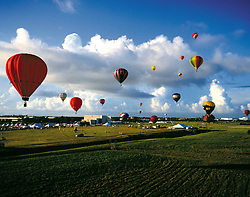 Stock photo of hot air balloons at the Ballunar Liftoff Festival in Houston Texas