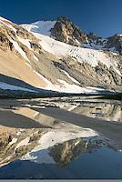 Glaciated Peaks of Boulder/Salal Divide reflected in waters of Salal Creek near Athelney Pass, Coast Range British Columbia Canada