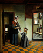 Woman with a Child in a Pantry, Pieter de Hooch (1629 - ca.1683) oil on canvas c. 1656-1660.  Pieter de Hooch worked in Delft for a few years at the same time as Johannes Vermeer.  Both artists were fascinated by how to render light and space.