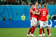 Russia Artem Dzyuba celebrates his goal with teammates during the 2018 FIFA World Cup Russia, Group A football match between Russia and Egypt on June 19, 2018 at Saint Petersburg Stadium in Saint Petersburg, Russia - Photo Stanley Gontha / Pro Shots / ProSportsImages / DPPI