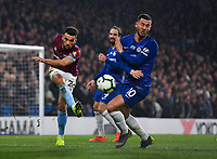 Football - 2018 / 2019 Premier League - Chelsea vs. West Ham United<br /> <br /> West Ham United's Ryan Fredericks clears the ball right into Chelsea's Eden Hazard, at Stamford Bridge.<br /> <br /> COLORSPORT/ASHLEY WESTERN