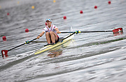 """Glasgow, Scotland, """"2nd August 2018"""", Swiss Sculler, SUI W1X, Jeannine GMELIN, competing at the European Games, Rowing, Strathclyde Park, North Lanarkshire, © Peter SPURRIER/Alamy Live News"""
