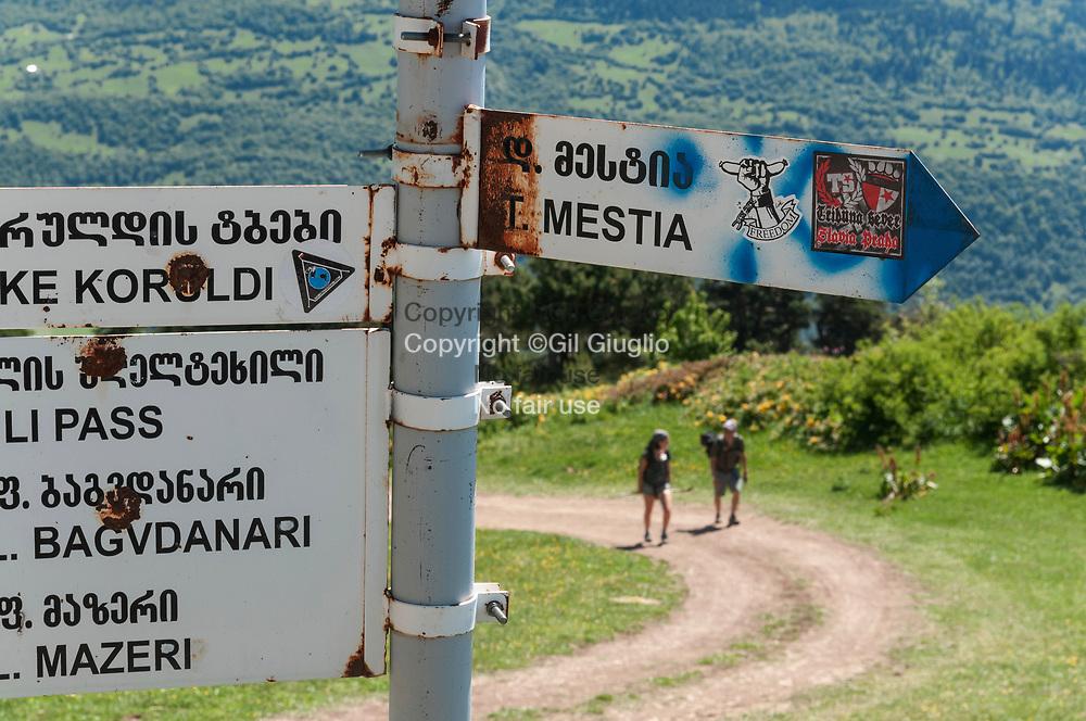 Georgie, région Svanetie, au dessus du village de Mestia chemin vers le Pic de la Croix (Djvris Mta) à 1206 mètres // Georgia, Svanezia region, upside of Mestia village, trail to the Peak of the Cross the mountain (Djvris Mta) 2206 meters