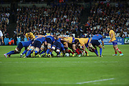 Fiercely contested scrum during the Rugby World Cup Pool D match between France and Romania at the Queen Elizabeth II Olympic Park, London, United Kingdom on 23 September 2015. Photo by Matthew Redman.
