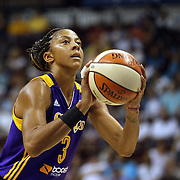 Candace Parker, Los Angeles Sparks, in action during the Connecticut Sun Vs Los Angeles Sparks WNBA regular season game at Mohegan Sun Arena, Uncasville, Connecticut, USA. 3rd July 2014. Photo Tim Clayton