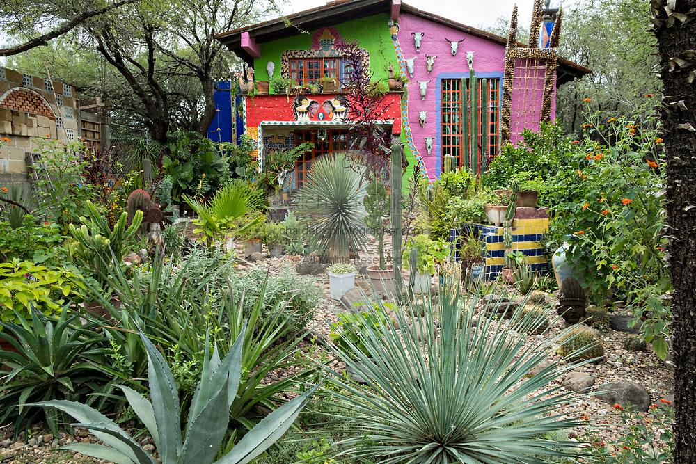 The home and garden of American artist Anado McLauchlin at the Chapel of Jimmy Ray in his art compound Casa las Ranas September 28, 2017 in La Cieneguita, Mexico.