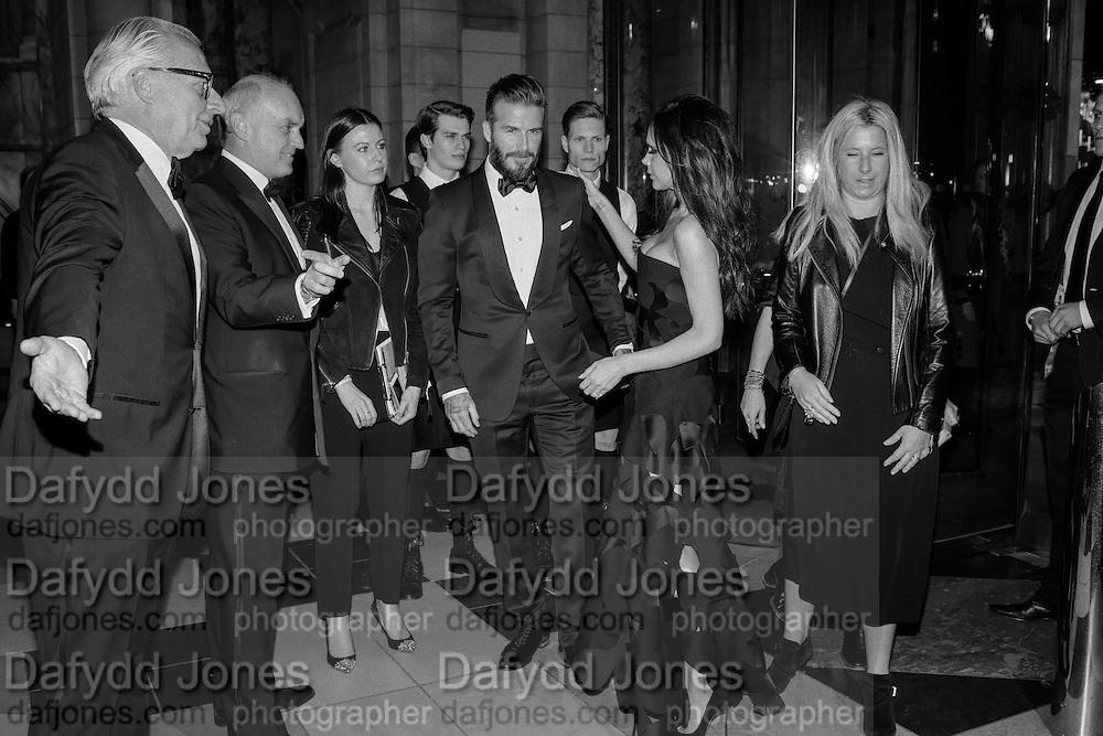 MARTIN ROTH; NICHOLAS COLERIDGE; DAVID BECKHAM; VICTORIA BECKHAM, Alexander McQueen: Savage Beauty Gala, Victoria and Albert Museum, and A. 12th March 2015