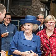 NLD/Utrecht/20140628 - Prinses Beatrix aanwezig bij de viering van 200 jaar Nederlands Bijbelgenootschap, Rieuwerd Buitenwerf en Marleen de Pater met prinses Beatrix