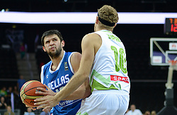 Konstantinos Papanikolao of Greece vs Miha Zupan of Slovenia during friendly match between National Teams of Slovenia and Greece before World Championship Spain 2014 on August 17, 2014 in Kaunas, Lithuania. Photo by Robertas Dackus / Sportida.com