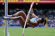 Olivia Curran competing in the Women's Pole Vault Final. The British Championships 2016, athletics event at the Alexander Stadium in Birmingham, Midlands  on Saturday 25th June 2016.<br /> pic by John Patrick Fletcher, Andrew Orchard sports photography.