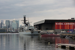 London, UK. 12th September, 2021. HMS Argyll, the longest-serving Type 23 Frigate in the Royal Navy, is pictured moored alongside ExCeL London and in front of Canary Wharf in advance of the DSEI 2021 arms fair. Activists from a range of different groups continue to protest outside the venue for one of the world's largest arms fairs.