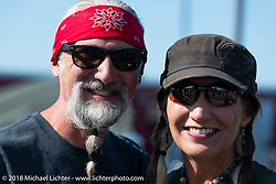 Reed and Deb Holmes at the Aidan has a Posse fundraiser ride out from the Buffalo Chip Crossroads during the 78th annual Sturgis Motorcycle Rally. Sturgis, SD. USA. Tuesday August 7, 2018. Photography ©2018 Michael Lichter.