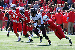 06 October 2012:  Nate Palmer sacks Kory Faulkner during an NCAA football game between the Southern Illinois Salukis and the Illinois State Redbirds at Hancock Stadium in Normal IL