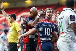 Billy Searle of Bristol Rugby celebrates with Tom Varndell and Jack Wallace after scoring a try - Rogan Thomson/JMP - 11/12/2016 - RUGBY UNION - Ashton Gate Stadium - Bristol, England - Bristol Rugby v Pau - European Rugby Challenge Cup.