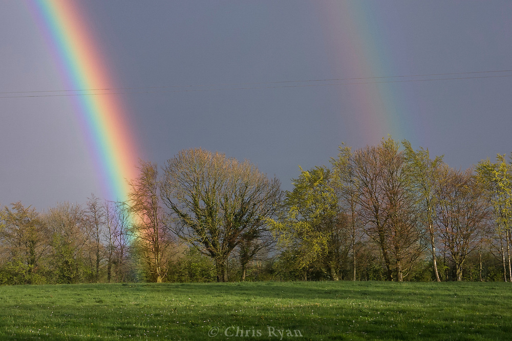 Double-rainbow in farmer's field, County Tipperary, Ireland