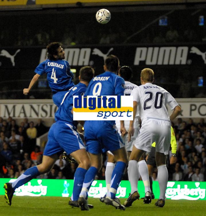Photo: Ed Godden/Sportsbeat Images.<br /> Tottenham Hotspur v Anorthosis Famagusta. UEFA Cup, First Leg. 20/09/2007. Famagusta's Nikos Katsavakis, rises high for the ball.