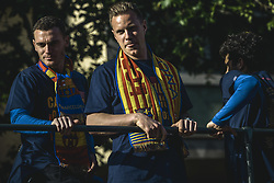 April 30, 2018 - Barcelona, Catalonia, Spain - FC Barcelona's THOMAS VERMAELEN and ANDRE TER STEGEN during the FC Barcelona's open top bus victory parade after winning the LaLiga with their eighth double in the club history. (Credit Image: © Matthias Oesterle via ZUMA Wire)