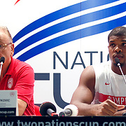 Olimpiakos's coach Dusan IVKOVIC (L) and Kyle HINES (R) during their Two Nations Cup basketball match Fenerbahce Ulker between Olimpiakos at Abdi Ipekci Arena in Istanbul Turkey on Saturday 01 October 2011. Photo by TURKPIX