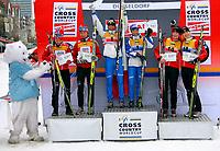 Langrenn<br /> World Cup / Verdenscup<br /> Düsseldorf Tyskland<br /> 05.12.2010<br /> Foto: Gepa/Digitalsport<br /> NORWAY ONLY<br /> <br /> FIS Weltcup, 6x0,9km Staffel, Free Team Sprint der Damen, Siegerehrung. Bild zeigt den Jubel von Maiken Caspersen Falla, Celine Brun-Lie (NOR), Magda Genuin, Arianna Follis (ITA), Daria Gaiazova und Chandra Crawford (CAN)