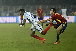 October 28, 2017 - Kolkata, West Bengal, India - England Callum Hadson-Odoi (jersey 14) and Spain Mateu Jaume(jersey 2) in actions the FIFA U 17 World Cup India 2017 Final match in Kolkata. Player of England and Spain in action during the FIFA U 17 World Cup India 2017 Final match on October 28, 2017 in Kolkata. England wins FIFA U 17 World Cup 5-  2 goals against Spain. (Credit Image: © Saikat Paul/Pacific Press via ZUMA Wire)