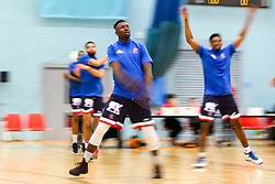 Daniel Edozie of Bristol Flyers warms up - Photo mandatory by-line: Robbie Stephenson/JMP - 10/04/2019 - BASKETBALL - UEL Sports Dock - London, England - London Lions v Bristol Flyers - British Basketball League Championship