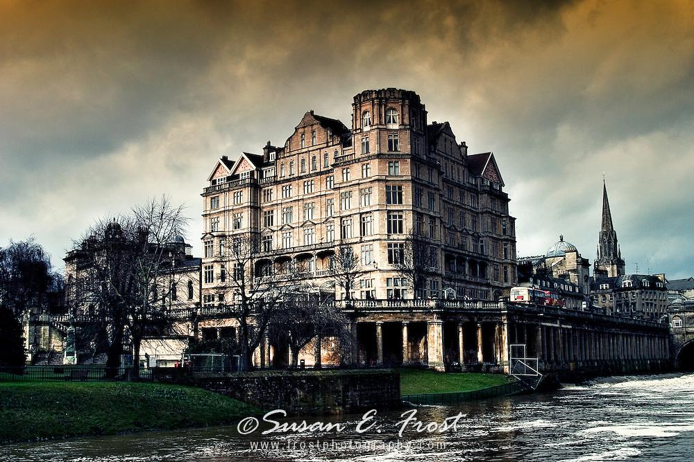 Historic Building in Bath, England on Avon River