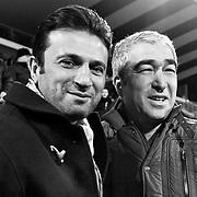 Besiktas's coach Samet Aybaba (R) and Gaziantepspor's coach Hikmet Karaman (L) during their Turkish superleague soccer match Besiktas between Gaziantepspor at the BJK Inonu Stadium in Istanbul Turkey on Saturday, 16 February 2013. Photo by TURKPIX