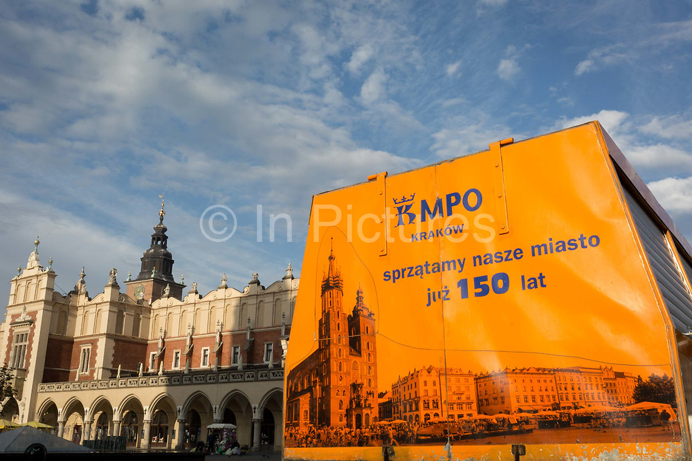A city authority Mercedes Sprinter waste collection vehicle is parked opposite the Renaissance Cloth Hall during morning rubbish duties on Rynek Glowny market square, on 23rd September 2019, in Krakow, Malopolska, Poland.