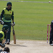 Lucy Doolan bowling during the match between New Zealand and Pakistan in the Super 6 stage of the ICC Women's World Cup Cricket tournament at Drummoyne Oval, Sydney, Australia on March 19, 2009. New Zealand won the match by 223 runs. Photo Tim Clayton