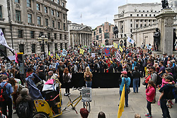 © Licensed to London News Pictures. 27/08/2021. London, UK. Protesters take part in EXTINCTION REBELLION'S THE IMPOSSIBLE REBELLION demonstration outside the Bank of England in the financial area of the City of London. Photo credit: Ray Tang/LNP