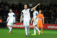 Chico Flores of Swansea city.UEFA Europa league match, Swansea city v Valencia at the Liberty Stadium in Swansea on Thursday 28th November 2013. pic by Andrew Orchard, Andrew Orchard sports photography,