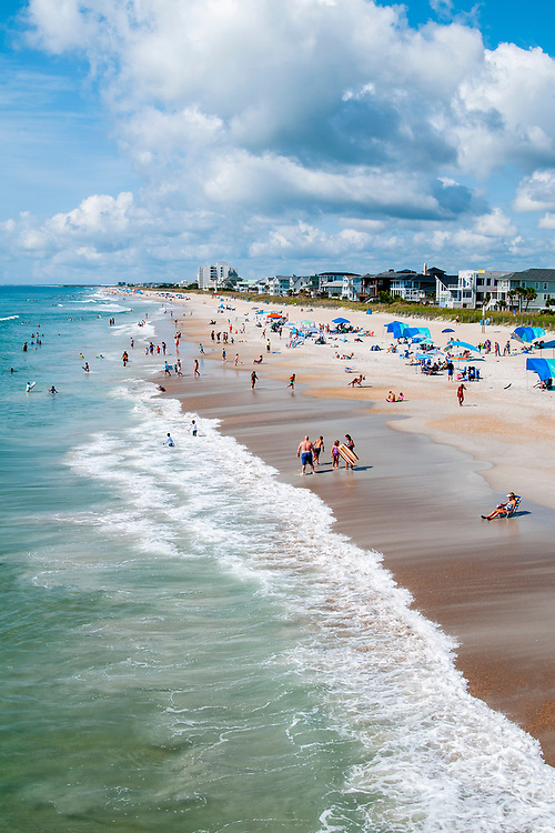 View of the beach from Johnnie Mercers Fishing Pier in Wrightsville Beach, North Carolina on Tuesday, August 10, 2021. Copyright 2021 Jason Barnette