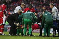 Photo: Andrew Unwin.<br /> Middlesbrough v Tottenham Hotspur. The Barclays Premiership. 18/12/2005.<br /> Middlesbrough's James Morrison (C) is stretchered off the pitch.