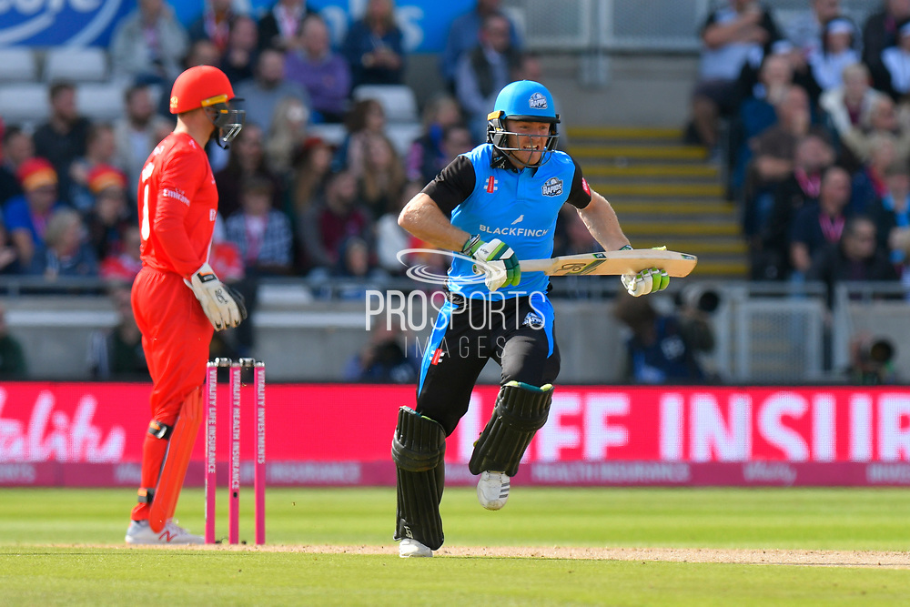 Ben Cox of Worcestershire takes a quick run during the Vitality T20 Finals Day Semi Final 2018 match between Worcestershire Rapids and Lancashire Lightning at Edgbaston, Birmingham, United Kingdom on 15 September 2018.