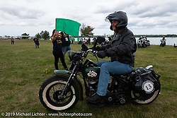 Pat Patterson on his 1946 Harley-Davidson Flathead leaving Aune Osborne Park in Sault Sainte Marie, the site of the official start of the Cross Country Chase motorcycle endurance run from Sault Sainte Marie, MI to Key West, FL. (for vintage bikes from 1930-1948). Thursday, September 5, 2019. Photography ©2019 Michael Lichter.