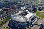 Nederland, Noord-Holland, Amsterdam, 09-04-2014; ArenA-gebied met stadion Arena en Arena Boulevard, NS station Bijlmer Arena, winkelcentrumAmsterdamse Poort.<br /> Arena area with Ajax stadium<br /> luchtfoto (toeslag op standard tarieven);<br /> aerial photo (additional fee required);<br /> copyright foto/photo Siebe Swart