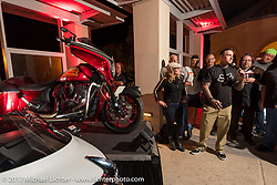 Former professional freestyle motocross competitor and motorcycle racer Carey Hart talks about the just revealed custom Indian Chieftain that he built at an Indian party at the Hilton Hotel during bike week. Daytona Beach, FL, USA. Friday March 10, 2017. Photography ©2017 Michael Lichter.
