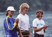 Lucerne, SWITZERLAND  W1X medalist,     Centre GER W1X Gold Medalist, Beate SCHRAMM      right Silver medalist BEL W1X, Ann Elise BREDAEL  and Bronze medalist, left, ROM W1X Elisabeta LIPA - OLENIUC. 1992 FISA World Cup Regatta, Lucerne. Lake Rotsee.  [Mandatory Credit: Peter Spurrier: Intersport Images] 1992 Lucerne International Regatta and World Cup, Switzerland