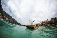 Deep Deka floating over the Ganga, Rishikesh - India