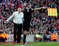 Photo: Ed Godden/Sportsbeat Images.<br /> Arsenal v Wigan Athletic. The Barclays Premiership. 11/02/2007. Wigan Manager Paul Jewell disagrees with the linesman.
