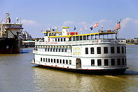 Mississippi River Boats, New Orleans - The Mississippi River is the chief river of North America.  Flowing entirely in the United States, it rises in northern Minnesota and meanders slowly southwards for 2,340 miles to the Mississippi River Delta at the Gulf of Mexico. The Mississippi ranks as the fourth longest and tenth largest river in the world. The river either borders or passes through the states of Minnesota, Wisconsin, Iowa, Illinois, Missouri, Kentucky, Tennessee, Arkansas, Mississippi, and Louisiana.