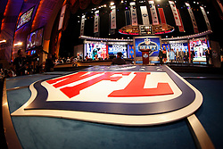 The NFL Logo is seen in the foreground of the Draft stage during the first round of the NFL Draft on April 26th 2012 at Radio City Music Hall in New York, New York. (AP Photo/Brian Garfinkel)
