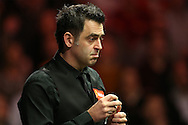 Ronnie O'Sullivan (Eng) looking on. Ronnie O'Sullivan v Liang Wenbo, 1st round match at the Dafabet Masters Snooker 2017, day 1 at Alexandra Palace in London on Sunday 15th January 2017.<br /> pic by John Patrick Fletcher, Andrew Orchard sports photography.