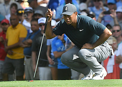 August 9, 2018 - St. Louis, Missouri, U.S. - ST. LOUIS, MO - AUGUST 09: Tiger Woods lines up a putt on the #15 green during the first round of the PGA Championship on August 09, 2018, at Bellerive Country Club, St. Louis, MO.  (Photo by Keith Gillett/Icon Sportswire) (Credit Image: © Keith Gillett/Icon SMI via ZUMA Press)