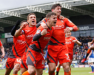 Goal celebration by Wycombe Wanderers Dominic Gape(4) during the EFL Sky Bet League 2 match between Chesterfield and Wycombe Wanderers at the b2net stadium, Chesterfield, England on 28 April 2018. Picture by Paul Thompson.