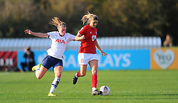Gemma Evans of Bristol City competes with Anna Filbey of Tottenham Hotspur Women- Mandatory by-line: Nizaam Jones/JMP - 27/10/2019 - FOOTBALL - Stoke Gifford Stadium - Bristol, England - Bristol City Women v Tottenham Hotspur Women - Barclays FA Women's Super League