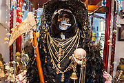 MEXICO CITY, MEXICO:  A statue of Santa Muerte (St. Death) in Iglesia de la Piedad (Mercy Church) in the Tepito section of Mexico City. St. Death is venerated throughout Mexico and Mexican communities in the United States. The veneration of St. Death started in Mexico's prisons about 10 years and has since spread through working class neighborhoods in many Mexican cities. The worship of St. Death was recognized as an official by the Mexican government in 2003. The Catholic Church in Mexico is opposed to the worship of St. Death and has held rallies and prayer vigils against the Saint. The small church in Tepito is frequently swamped with visitors and the religion has spread quickly through the tough, drug and crime plagued neighborhood, widely considered the most lawless in Mexico City.    PHOTO BY JACK KURTZ