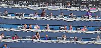LONDEN - De niet overdekte perstribune ,maandag bij de hockey wedstrijd tussen de mannen van Nederland en India tijdens de Olympische Spelen in Londen .ANP KOEN SUYK