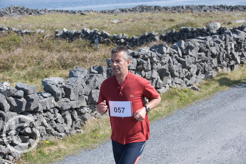 A weekend of glorious weather welcomed approximately 150 people from all over the country and abroad to Inis Mor , Arann Islands to participate in the annual Aer Arann half marathon.  Over the past ten years people have walked and ran the roads of Inis Mor to raise in excess of 1.2 million to purchase vital life saving equipment for sick children in both Crumlin and Temple Street hospitals.Mike Ryan GAlway   took part in the event  . Photo:Andrew Downes.